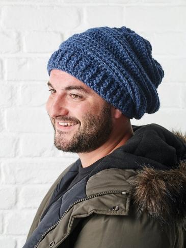crochet hat shot on Luke