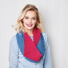 Crochet cowl shot on model Heather Berry
